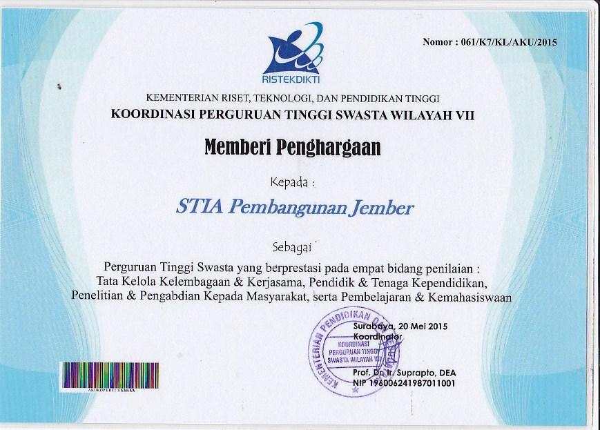 sertifikat Penghargaan stia